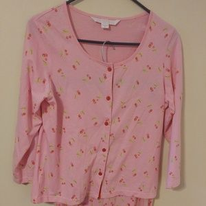Victoria's Secret Pink Cherries PJ Top & Bottoms S